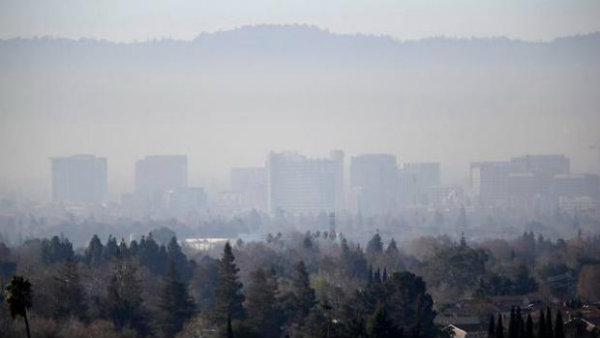 polluted skyline of San Jose