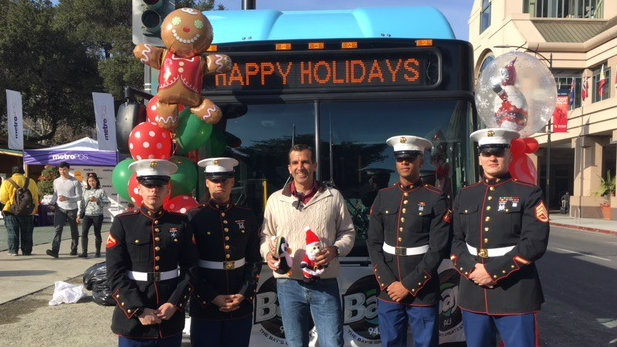 "Mayor Sam Liccardo and Marines at the ""Stuff the Bus"" toy drive"