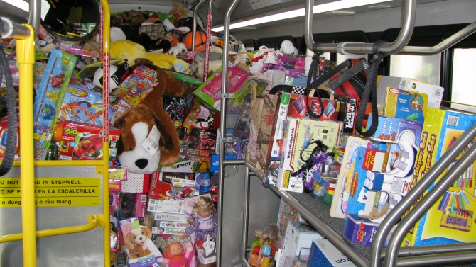 VTA bus filled with toys