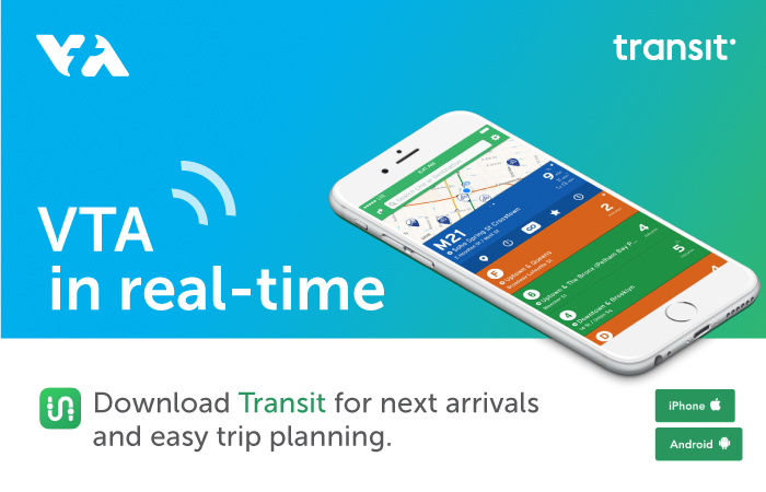 Graphic promoting transit app. VTA in real-time. Download Transit App for real-time arrivals and easy trip planning.