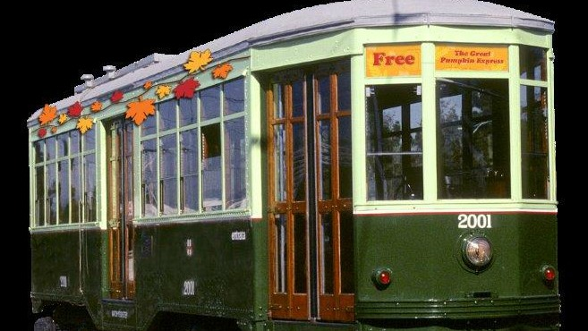 Historic trolley decorated for fall