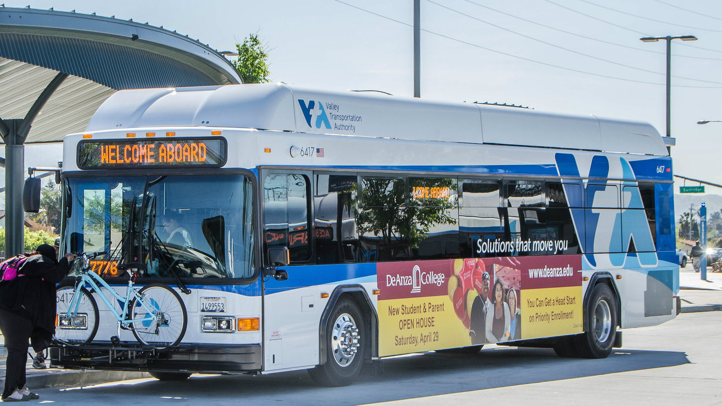 VTA bus and passenger loading bike