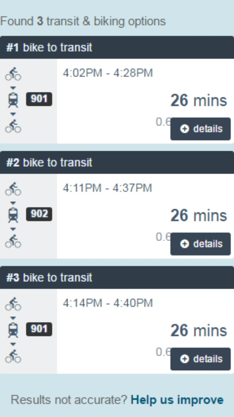 Screenshot of VTA's Trip Planner options