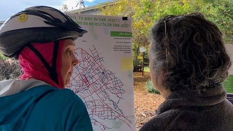 bicyclists looking at map