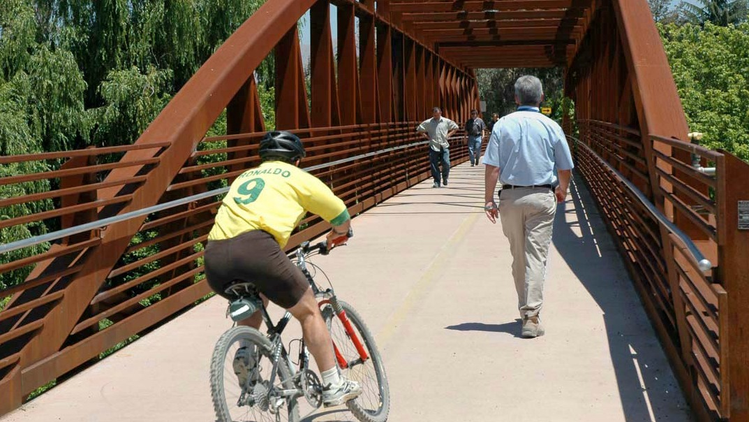 bicyclists and walkers on Los Gators Creek Bridge