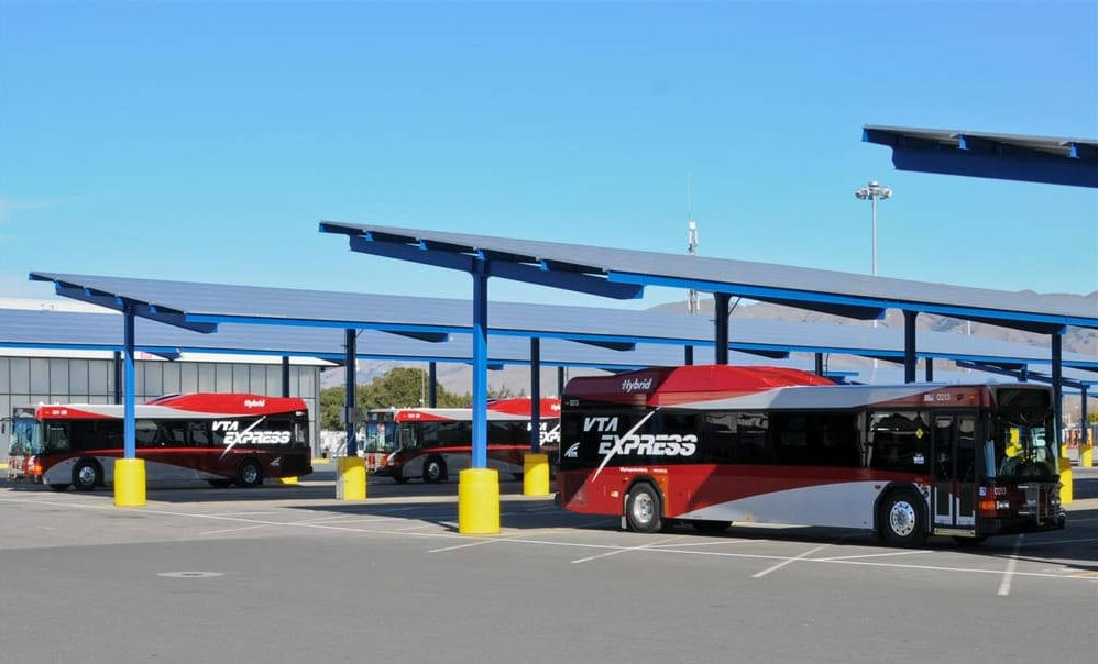 buses  under solar panels