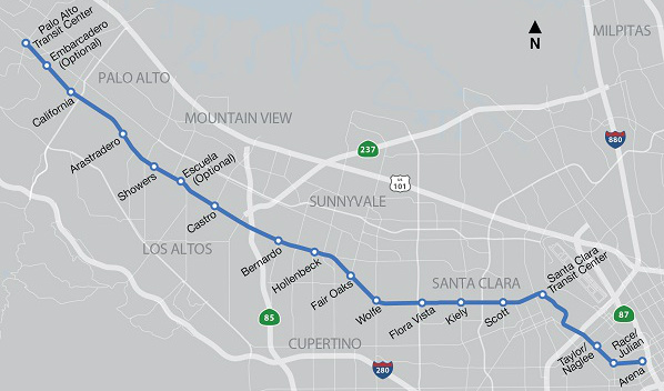 El Camino bus rapid transit Project Map