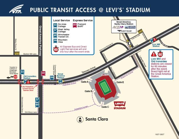bus stop locations at levi's