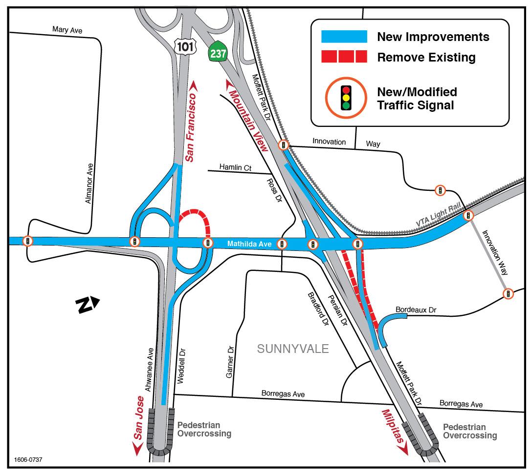 Mathilda Avenue Improvements At SR And US - Us 101 map