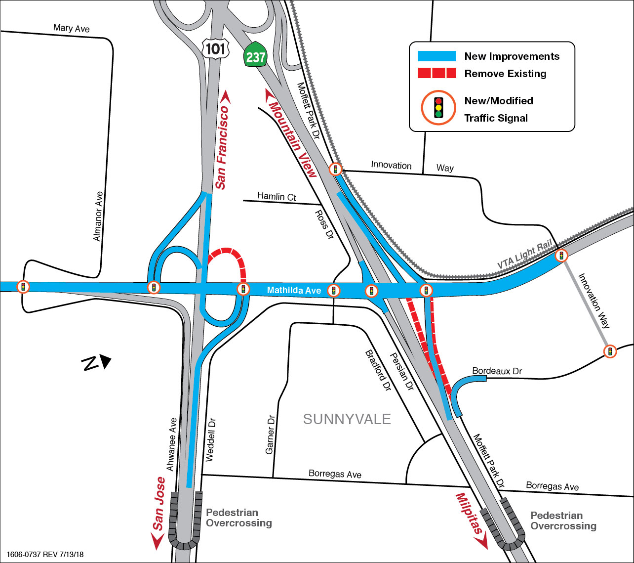 map showing new lane configuration for Mathilda construction project
