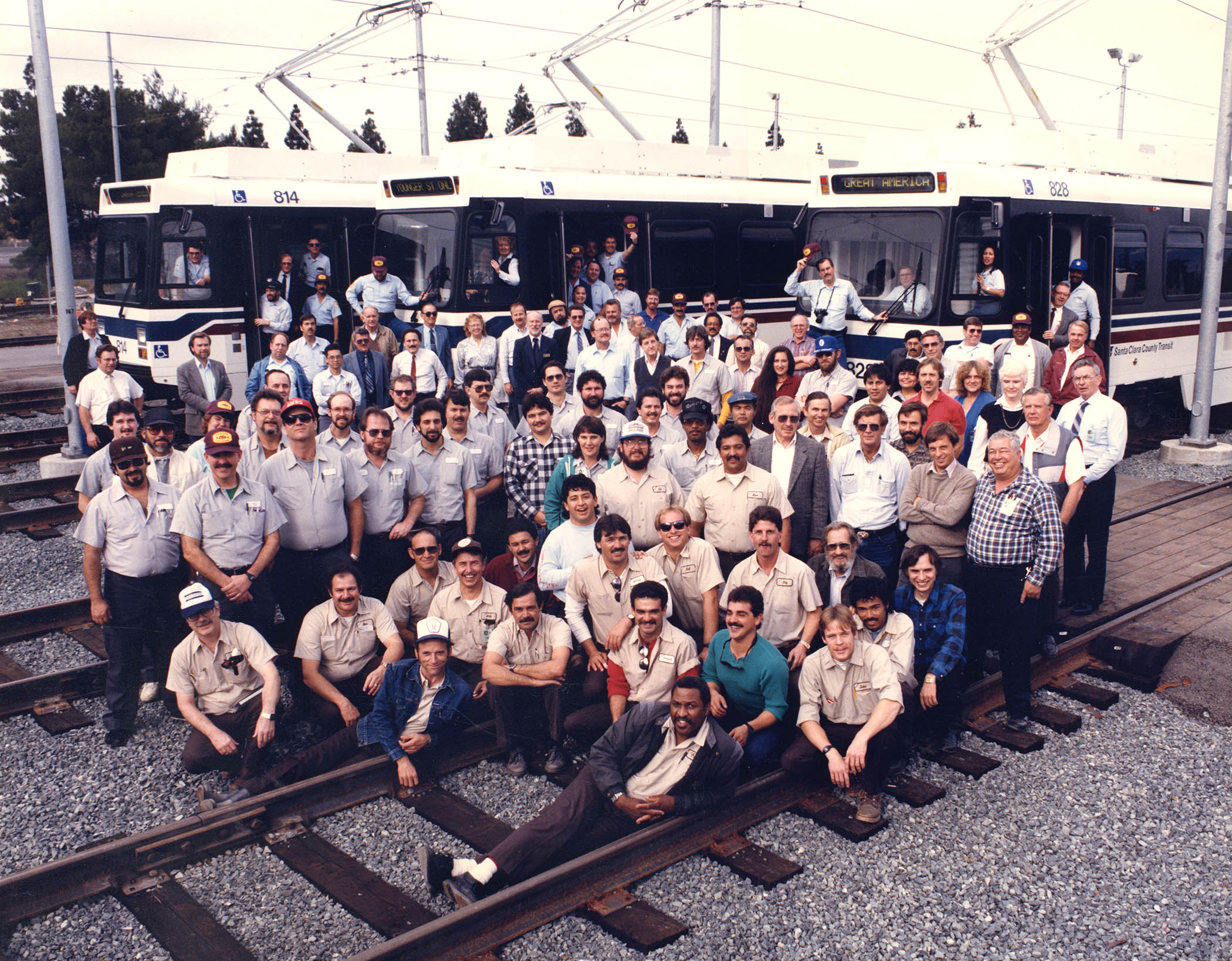 group of VTA operations employees from the 80s