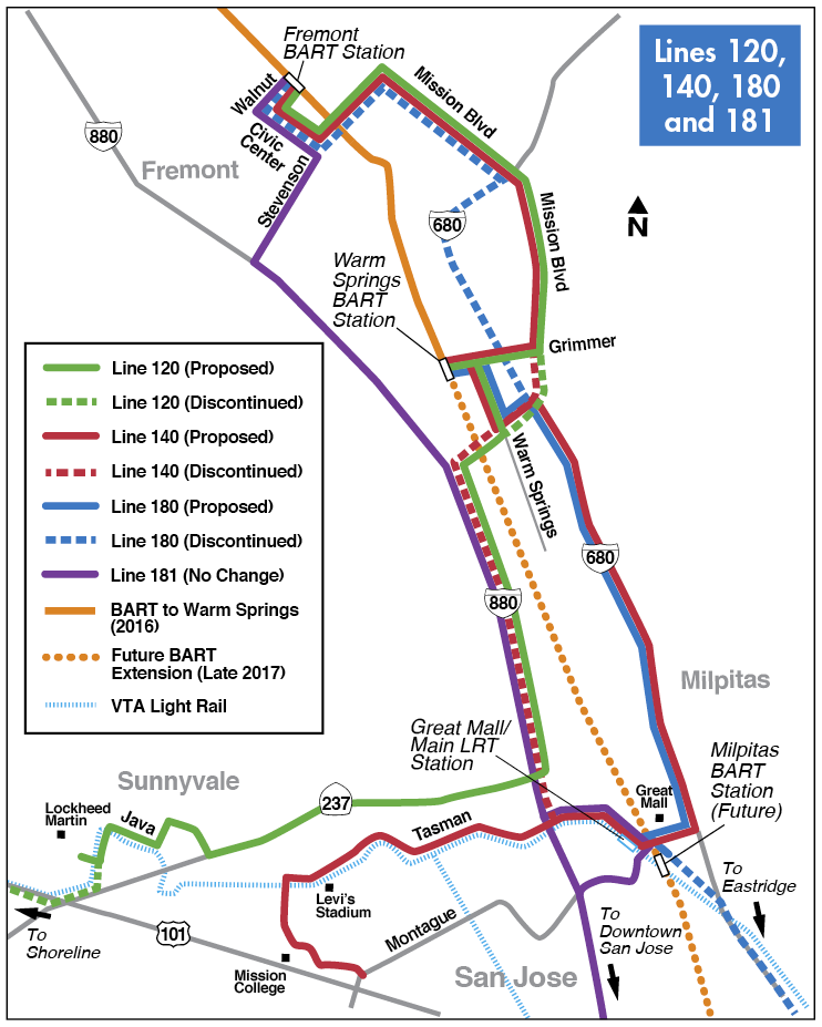 Proposed Fremont Express buses map for 2016-2017 Transit Service Plan