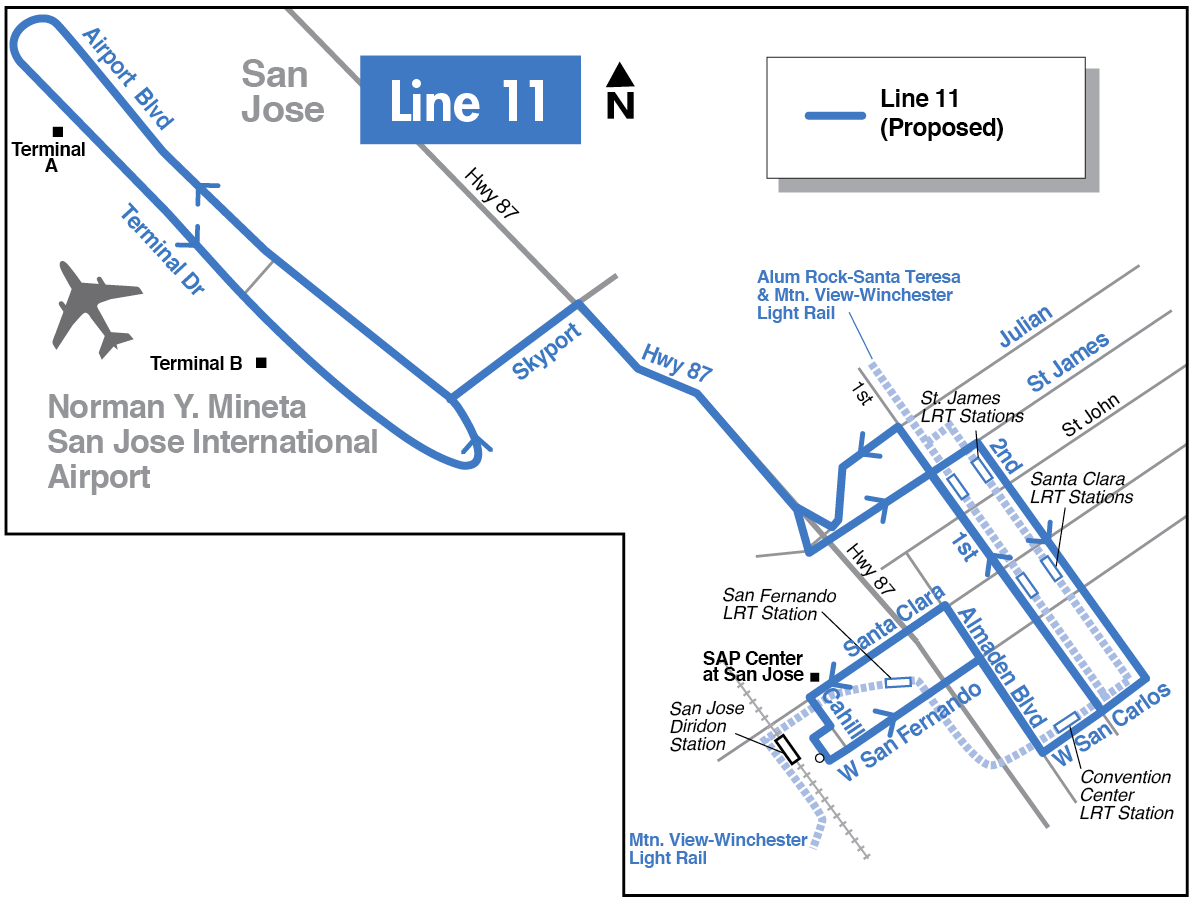 Proposed Line 11 map for 2016-2017 Transit Service Plan
