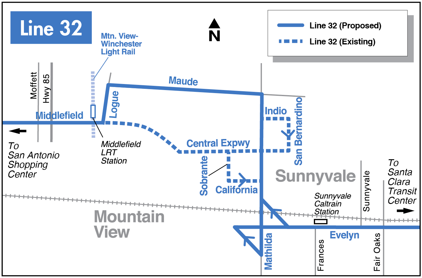 Proposed Line 32 map for 2016-2017 Transit Service Plan
