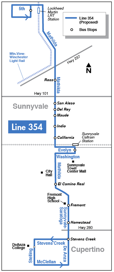 Proposed Line 354 map for 2016-2017 Transit Service Plan