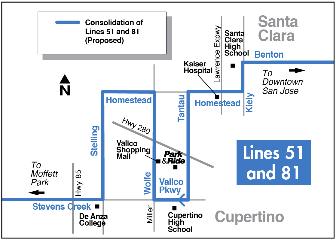 Proposed Lines 51 and 81 map for 2016-2017 Transit Service Plan