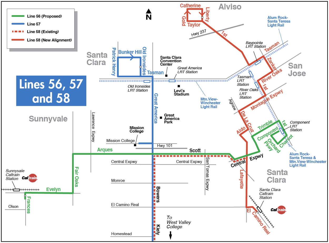 Proposed Lines 56, 57, 58 map for 2016-2017 Transit Service Plan