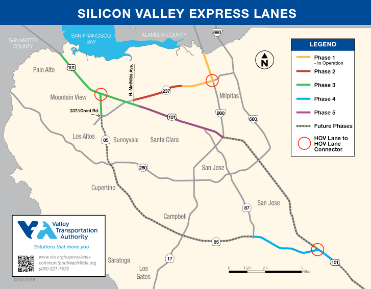 map showing Express lanes current and planned