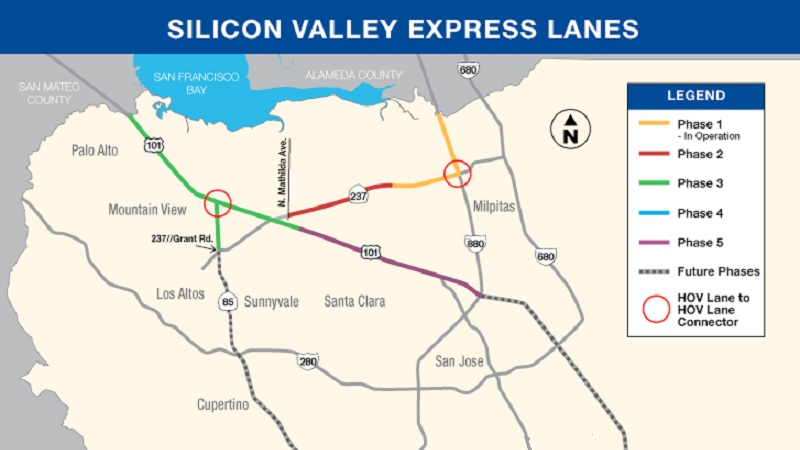 Silicon Valley Express Lanes Map