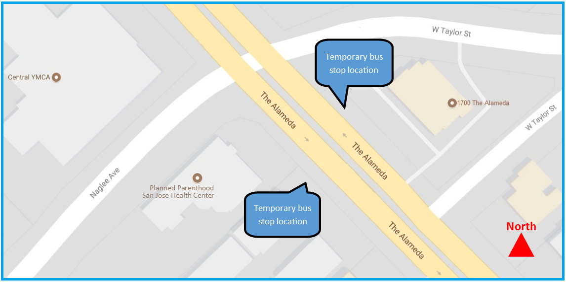 Temporary bus stop locations on The Alameda