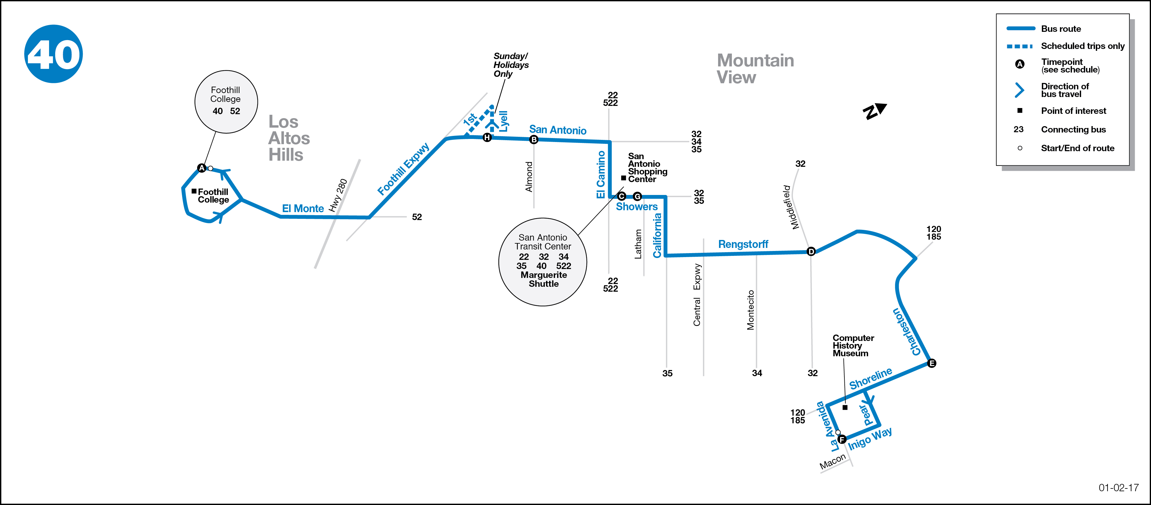 Bus Route Map 40 Bus Route   VTA   SF Bay Transit