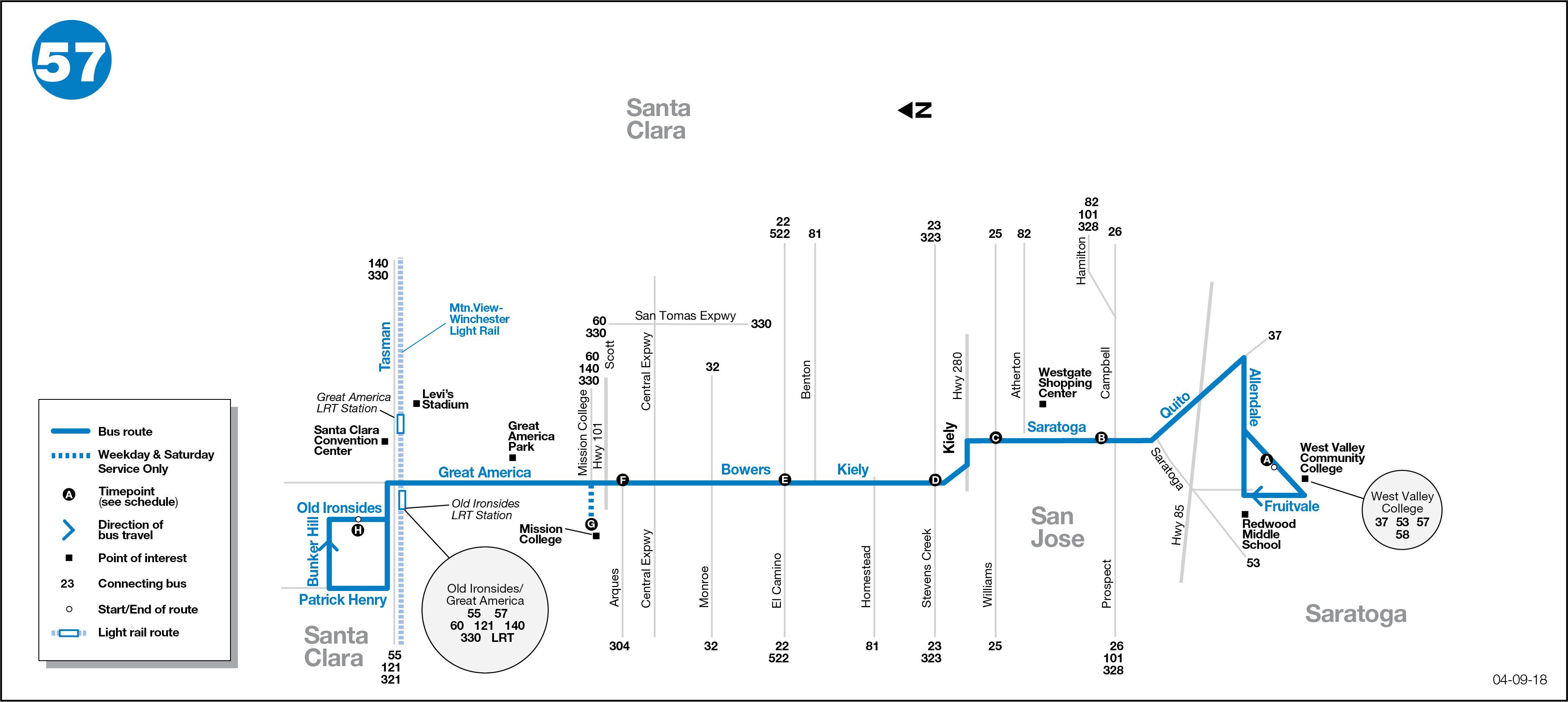 57 Bus Route Vta Sf Bay Transit
