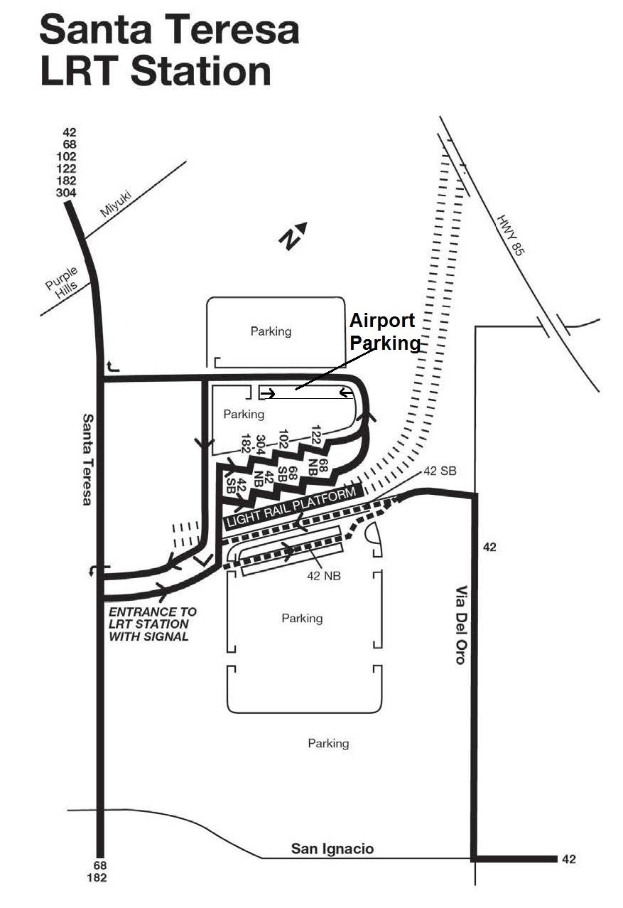 Santa Teresa California Map.Park And Ride Lots Santa Teresa Light Rail Station